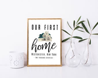 First Home Custom Print, Personalized Gift Idea, Custom Print, Printable, Framed Quote, First House, Couple Gift, New Home Gift