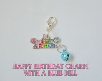 Happy Birthday Cat charm with bell for cat collars