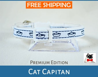 Cat collar 'Cat Capitan' nautical cat collar - cute cat collar will bell - sailor catBlack Friday