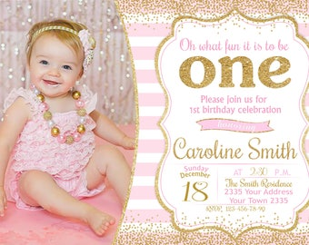 Girls First Birthday Etsy - Baby girl first birthday invitation ideas