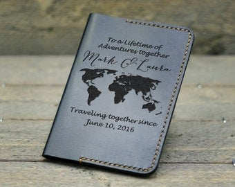 Passport Cover / Personalized Passport Holder/ Leather Passport Holder/ Gift for Couple / Anniversary Gift / Gift for mother & father - PC02