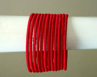 Red Silk Thread Bangles ~ Set of 12 - Silk Thread Woven Bangles ~ Ethnic Indian Accessory ~ Favor/Return Gifts