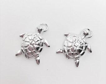 Turtle Charm Silver Plated Charm Cute Turtle Charm Aquatic Charm Make Your Own Jewellery Making LynnsGemSupplies