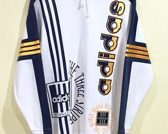 Rare!!! Vintage 90's Adidas Sweatshirt Adidas Spellout Embroidery Adidas Three Stripes Sports Gear Big Logo Multicolors Hip Hop Swag