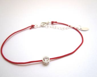 RED WIRE BRACELET AND ZIRCONIUM RHODIUM SILVER