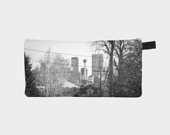 Pencil Case - Custom Order - Black & White Calgary Skyline / Zip Pouch / Makeup Bag / Purse Organizer/  by KarenMakes on Etsy