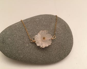 "Druzy ""Flower"" Crystal on Delicate Gold Chain"