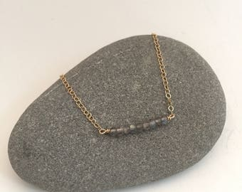Labradorite Bar Layering Gemstone Necklace on Delicate Gold Chain