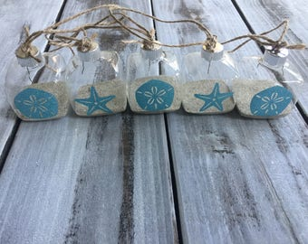 Beach coastal Christmas tree ornament sand dollar starfish sand