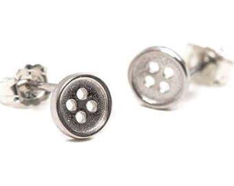 Cute Silver Button Earrings