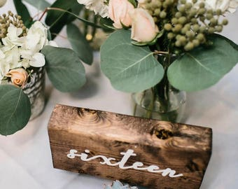 KANDJCREATES Rustic Wooden Wedding Table Numbers || Party Table Numbers