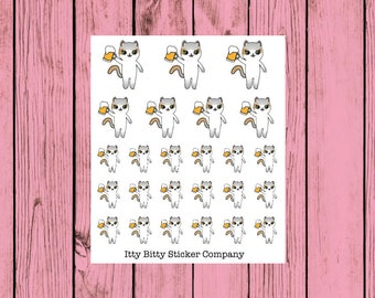 Mauly loves her Beer - Hand Drawn IttyBitty Kitty  Collection - Planner Stickers