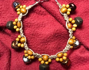 Beaded anklet with bells
