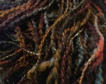 Spartan-hand spun art yarn autowrapped spiral plied thick & thin multicolored variegated knit weave crochet free shipping merino wool dark