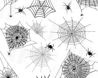 Spiders and Spider webs silhouettes clip art pack, Halloween vectors for commercial or personal use, Halloween spider webs, spider clipart