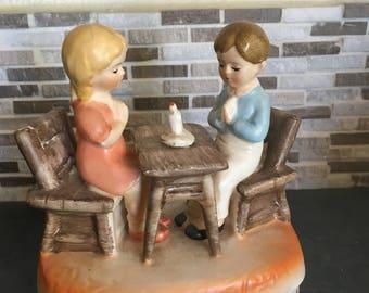1970's Vintage Sankyo Boy and Girl Praying At table Music Box