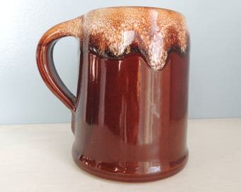 Large Monmouth Stoneware Brown Drip Coffee Mug,Made in the USA Maple Leaf Markings,Vintage Stoneware Coffee Mug,Brown Drip Beer Mug,16oz Mug