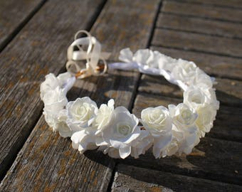 Flower Crown in Ivory and White, Flowergirl hairpiece, White Wedding, Wedding Crown, Floral Hairpiece, White flowers