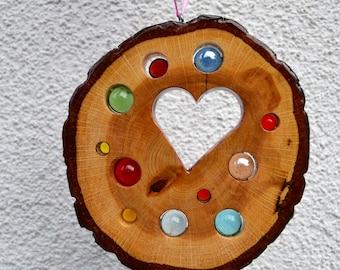 Sun Catcher Heart 16 cm-Oak