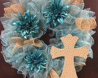 Turquoise Burlap Ruffle Wreath