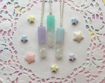 Crystal Resin Pendant Neclace with Silver Chain Pastel Princess Kawaii Ready to Ship