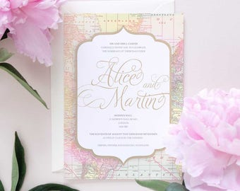 Vintage map travel wedding invitation, travel theme wedding invitation