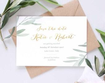 Wedding save the dates, Italian rustic wedding, rustic save the date for weddings, wedding announcement card, botanical wedding stationery