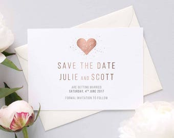 Rose gold heart save the date, elegant wedding invitation, save the date card, simple invitation, rose gold save the date, minimal invite