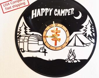 Happy Camper vinyl record clock *FREE Shipping*