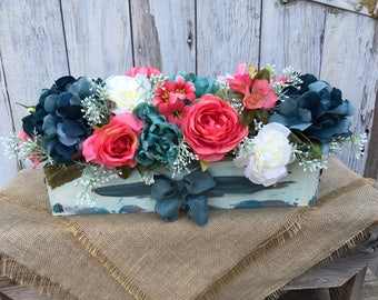A Teal and Dark Rose Floral Pallet Box Centerpiece, Primitive Floral Arrangement, Wedding Centerpiece, Floral Mothers Day Gift, Vintage