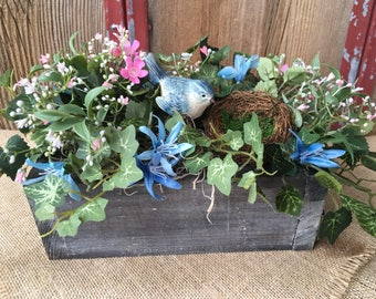 Spring Arrangement with Blue Bird and Nest, Repurposed Pallet Spring Centerpiece, Mothers Day, Summer Arrangement