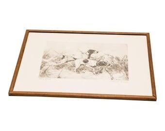 Vintage Framed Print of Hunting Dogs
