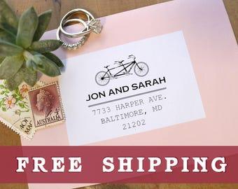 Tandem Bike Address Stamp, Wedding Return Address Stamp, Wedding Gift, Bicycle Address Stamp, Wedding Address Stamp, Custom Wedding Stamp
