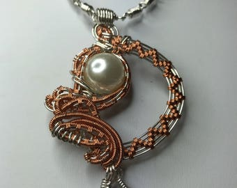 Stunning silver plated and copper wire Pendant