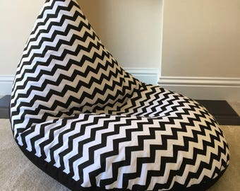 Adults Beanbag Bean Bag Gaming Reading Chair Black Chevron