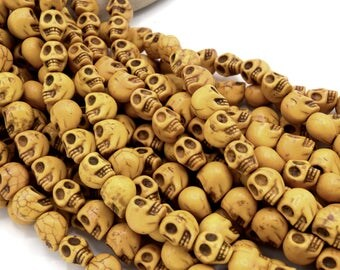 Skull - skull skull howlite beads veined antique gold 12 mm 20/40 units