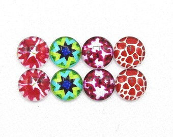 """8 cabochons round glass mixte12mm series 1 """"4"""""""