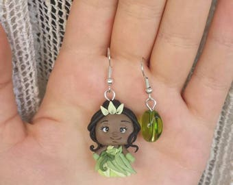 Disney princess Tiana earrings polymer clay fimo errings