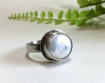 Coin Pearl Ring, Large Pearl Ring, Sterling Silver Ring, Fresh Water Pearl Ring, Handmade Silver Ring, Gift For Her, Under 100 Dollars