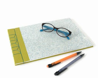 A4 Hardback Stab Bound Sketchbook or Journal - Chartreuse Green Bookcloth, White & Blue Lokta Paper and Blue Linen Thread
