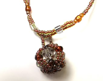 Topaz Glass Bead Necklace with Large Bead Encrusted Pendant Expired