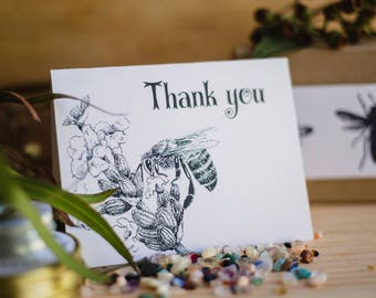Thank you card with a hand sketch bee on a lavender flower.  Printed on eco friendly recycled paper. FREE with any gift pack