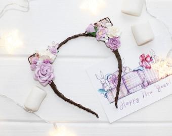 1st birthday headband Flower crown baby floral crown bridesmaid Flower cat ears headband Floral cat ears Flower Cat Headband purple