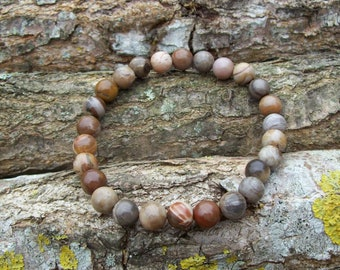 Petrified Wood Bracelet. Beaded Bracelet. Gemstone Bracelet. Womens Bracelet. Mens Bracelet. Stacking Bracelet • Gifts