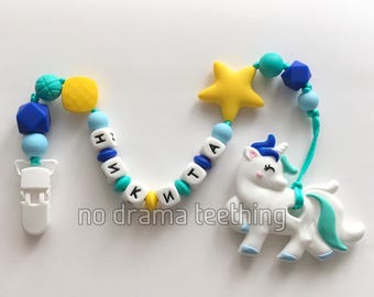 Personalized dummy chain with a silicone unicorn teether