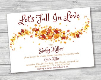 Let's Fall In Love Baby Shower Invitation, Fall Baby Shower Invitation, Fall In Love Baby Shower, Autumn Baby Shower, Leaves Baby Shower