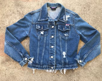 Bubblegum Custom Distressed Women's Jean Jacket