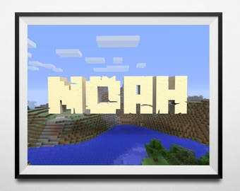 Personalised name MINECRAFT poster // Wall decal // personalised poster // bedroom poster // Minecraft art // For boys