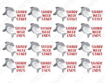 Shark Week Planner Stickers - Digital Download
