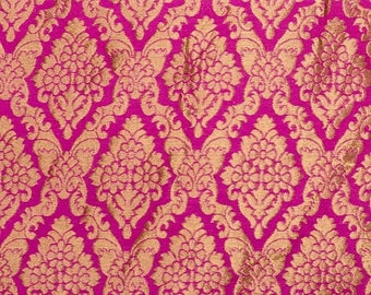 SALE 15% Free Shipping Half Yard of Pink and Golden Heavy Zari Work Brocade Silk Fabric, Banarasi SIlk Fabric, Indian Silk Fabric